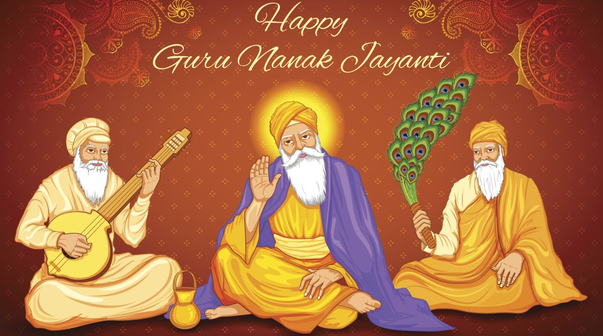 Happy Guru Nanak Jayanti festival of Sikh celebration background