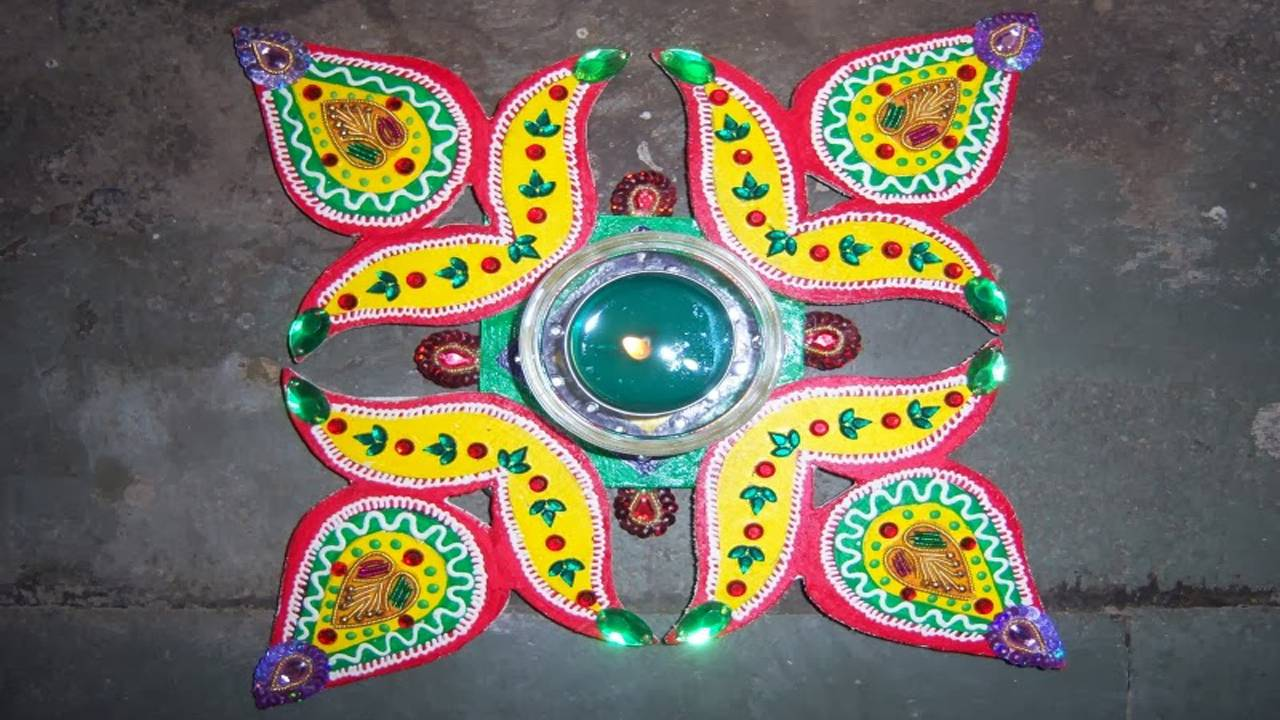Rangoli For Diwali With Dots