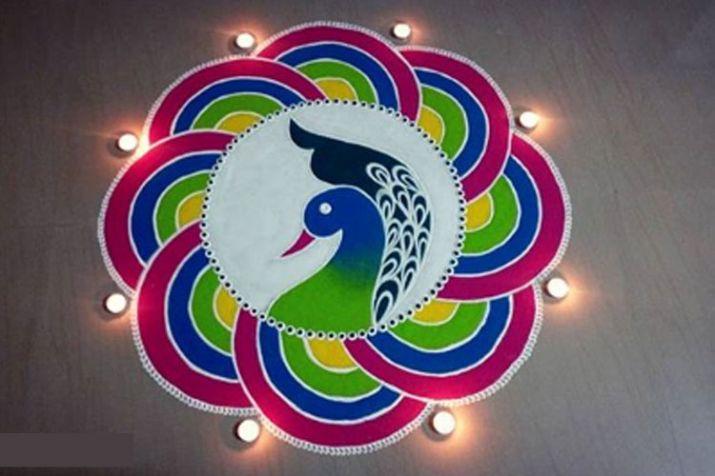 Unique Rangoli Designs Peacock