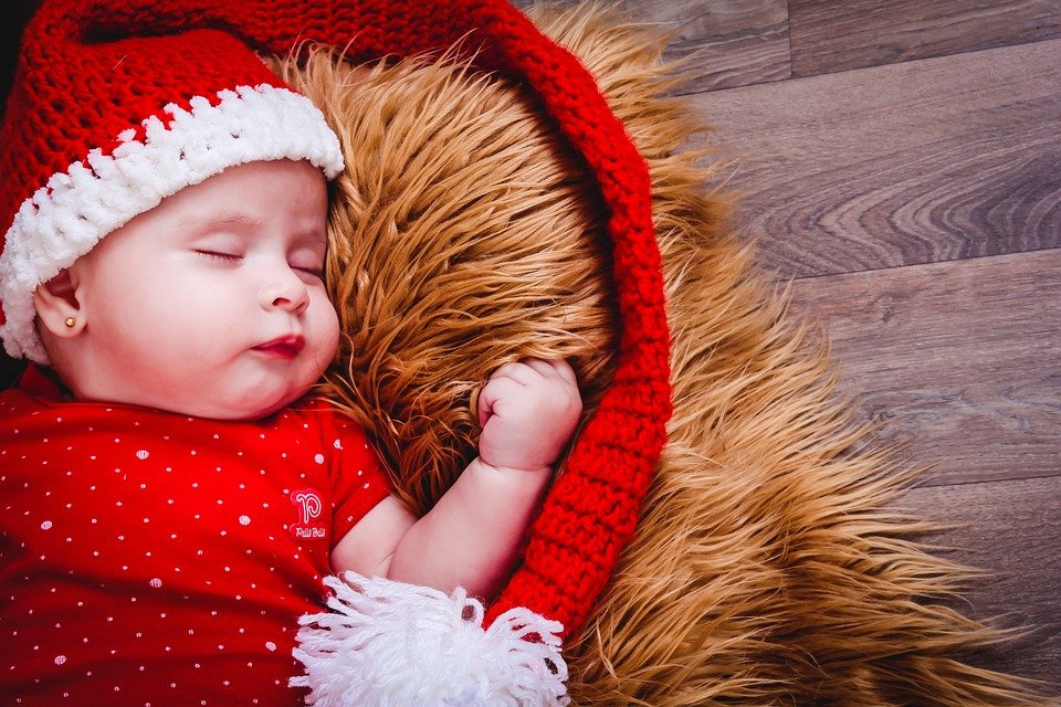 Cute Baby in Christmas Dress