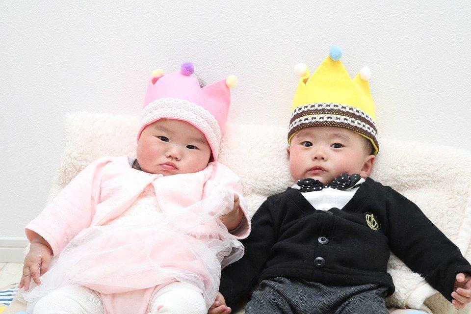 Twins Girls Half Birthday Boy