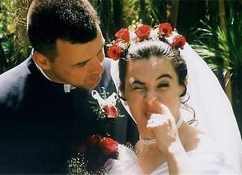 Funny Wedding Bride Picking Nose Picture