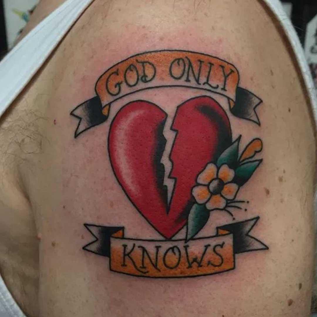 Broken Heart Biceps Tattoo