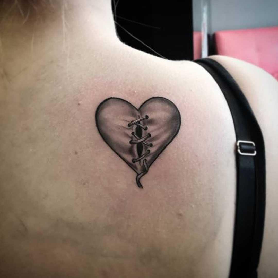 Broken Heart Tattoos Outline
