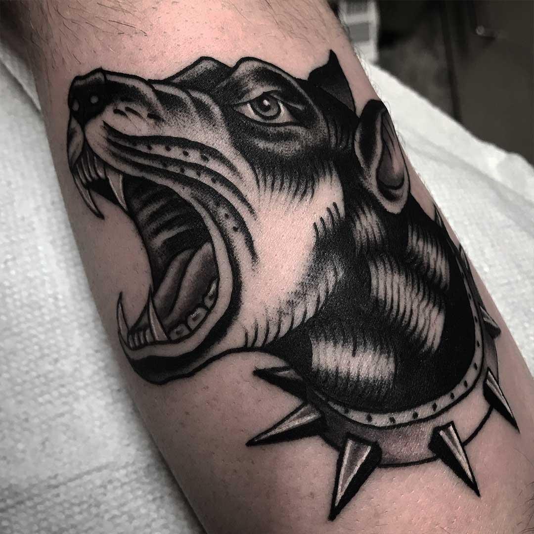 Doberman Barking Tattoo