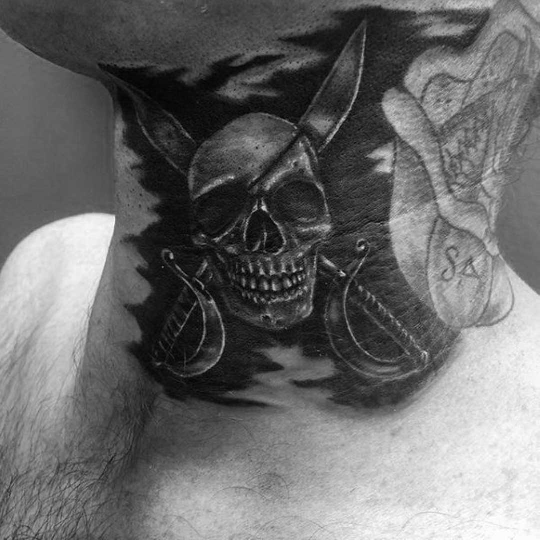 Mens Pirate Neck Tattoo