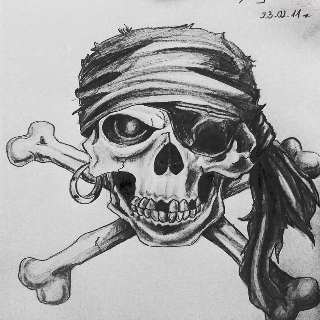 Pirate Crossbone Tattoos Outline