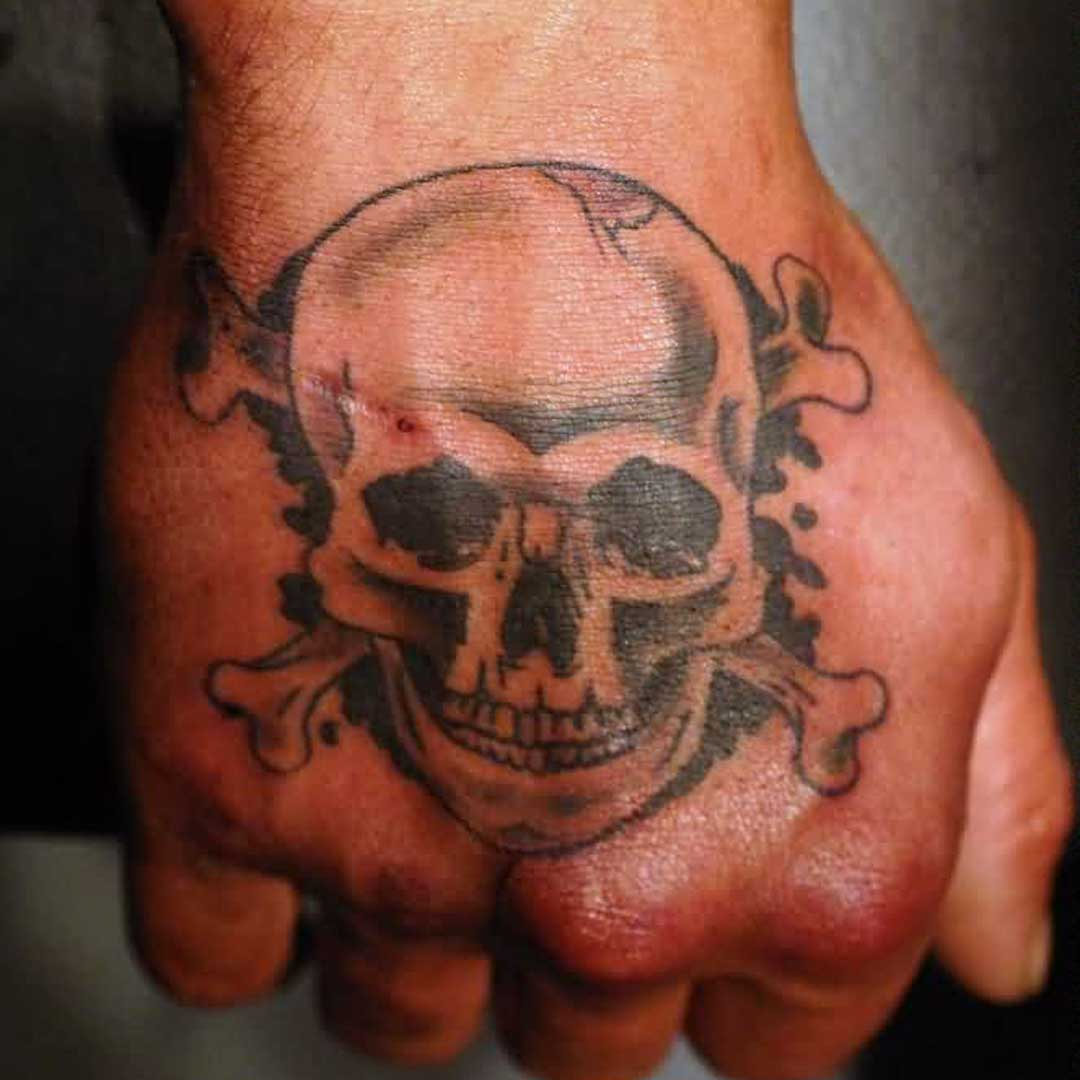 Pirate Skull With Crossbone Hand Tattoo