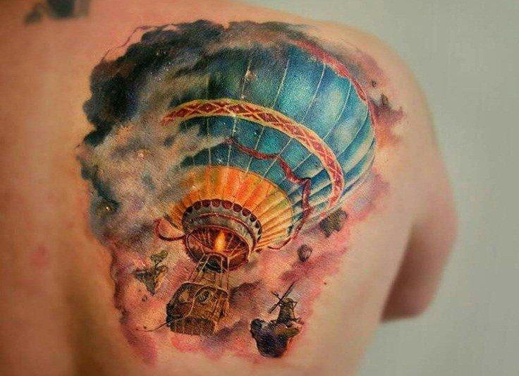 Balloon Back Shoulder Tattoo
