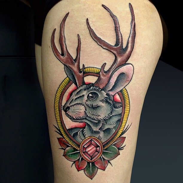 Awesome jackalope neo traditional tattoo