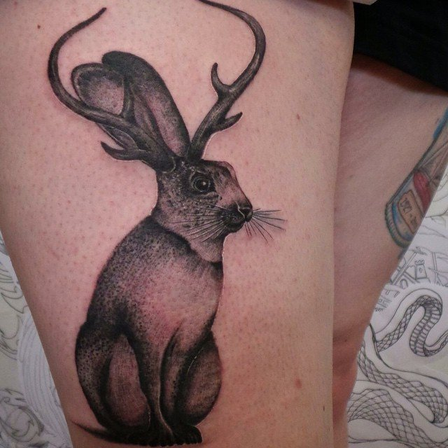 Black And Grey Jackalope Tattoo On Right Thigh