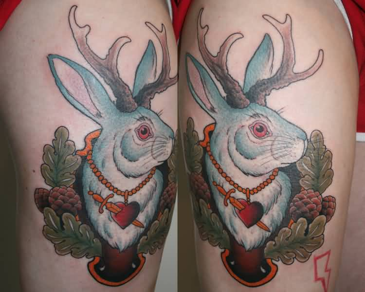 Color Ink Jackalope Tattoo On Thigh
