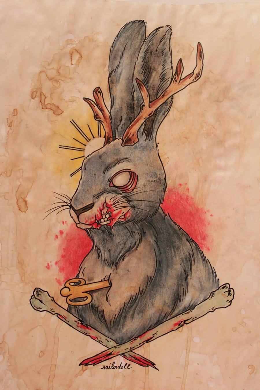 Evil Jackalope Tattoo Stencil