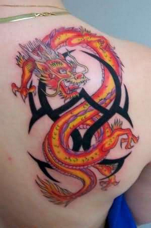 Fire Dragon and Tribal Tattoo On Back Shoulder