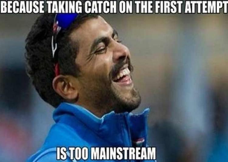 Funny Cricket Meme Because Taking Catch On The First Attempt Is Too Mainstream Picture