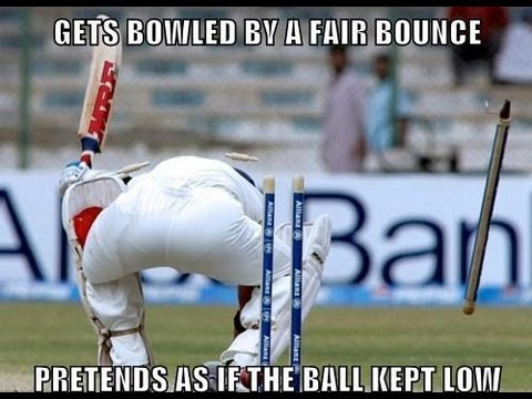 Funny Cricket Meme Gets Bowled By A Fair Bounce Pretends As If The Ball Kept Low Picture