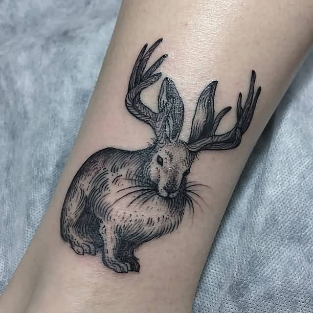 Geometric Jackalope Tattoo On Leg