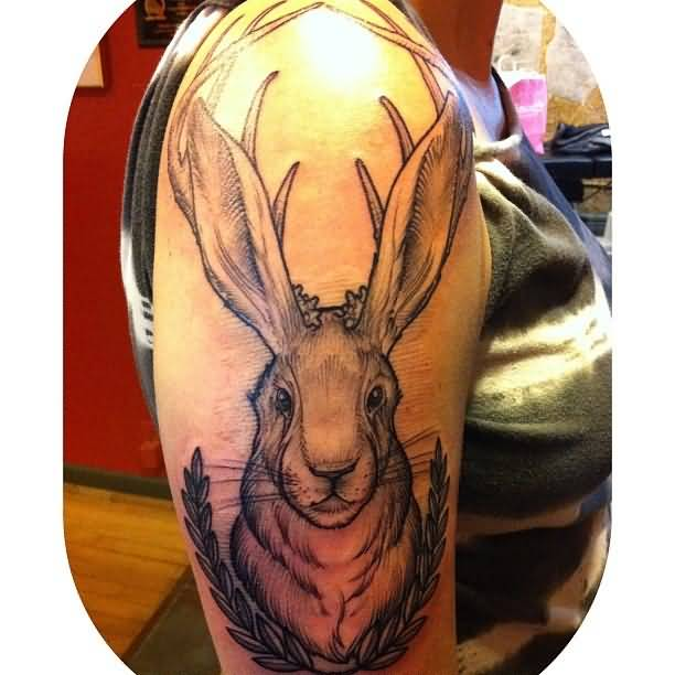 Girl Right Half Sleeve Jackalope Tattoo