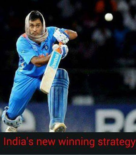 India's New Winning Strategy Dhoni Playing Cricket Funny Meme Picture