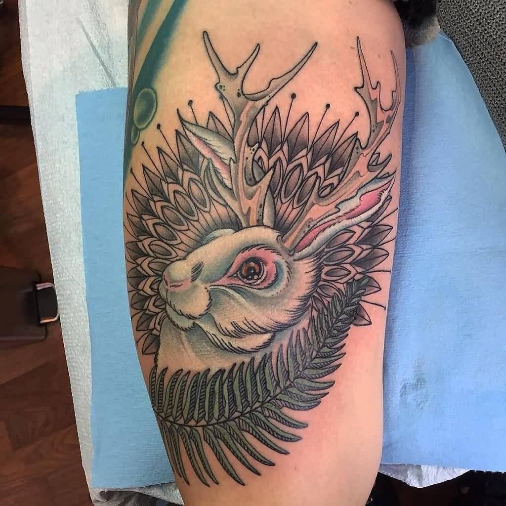 Jackalope Head Tattoo On Leg