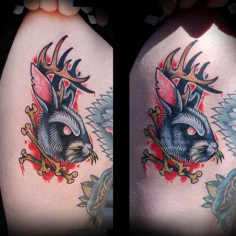 Jackalope Rabbit Tattoo Design For Girls