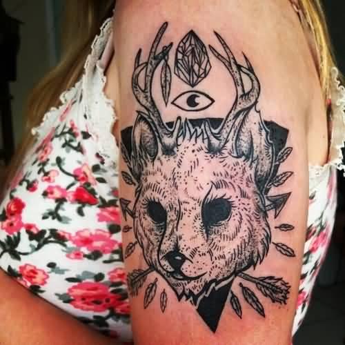 Jackalope Tattoo On Girl Left Bicep