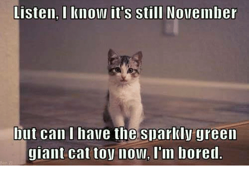 Listen I Know It's Still November But Can I Have The Sparkly Green Giant Cat Toy Now I Am Bored Funny Bored Meme Image