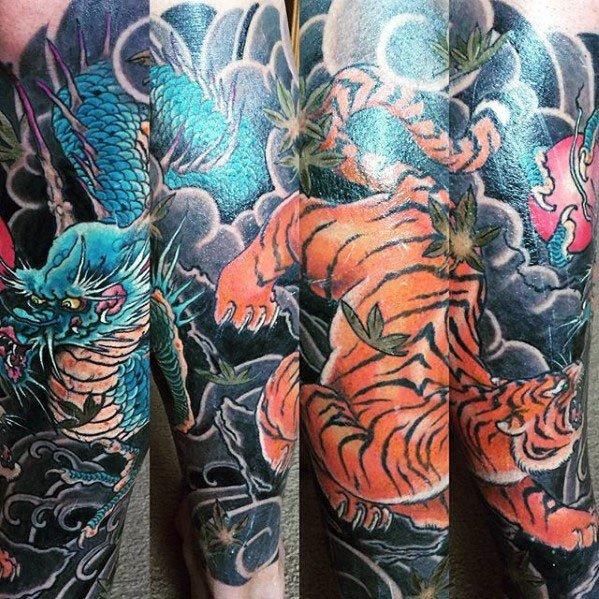 Tiger Dragon Tattoo Designs For Men