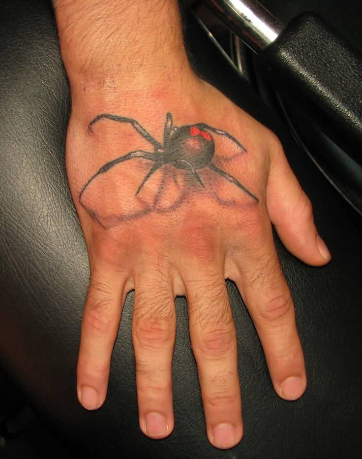 Nice Black Widow Tattoo On Hand