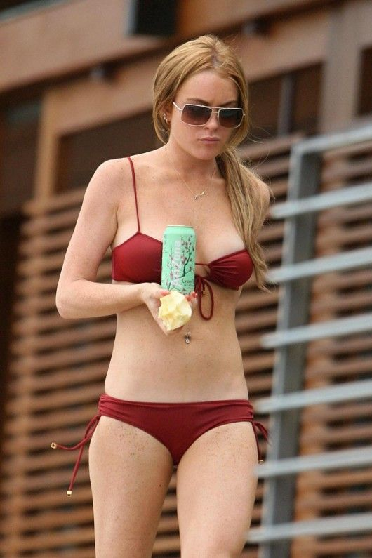 lindsay lohan red bikini