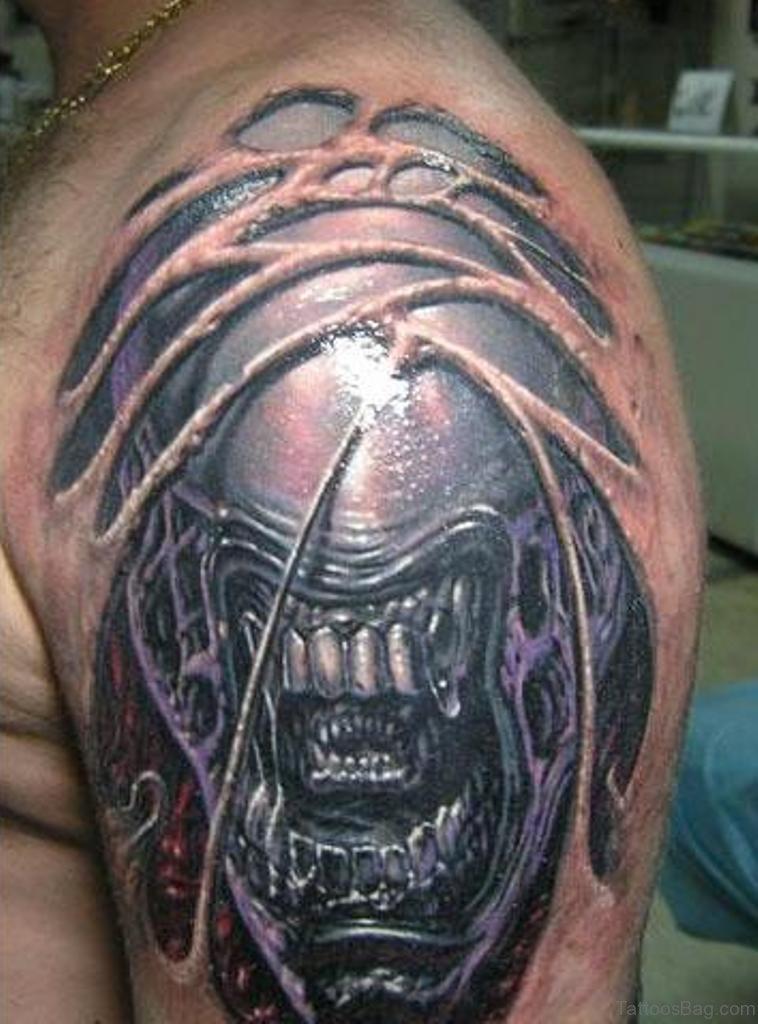 Alien Tattoos On Shoulder